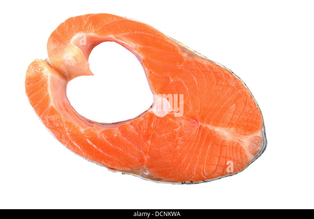 Salmon isolated on white with heart shape sides - Stock Image