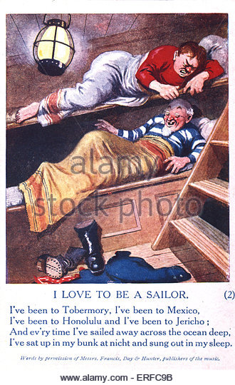 'I Love to Be a Sailor', comic World War I postcard. Shows two sailors in bunk beds. Beneath, verse of a - Stock Image