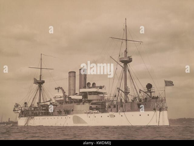USS MAINE at anchor in a US harbor, c. 1896. Commissioned in 1895 she was a 2nd-class battleship (BSLOC_2017_10 - Stock Image