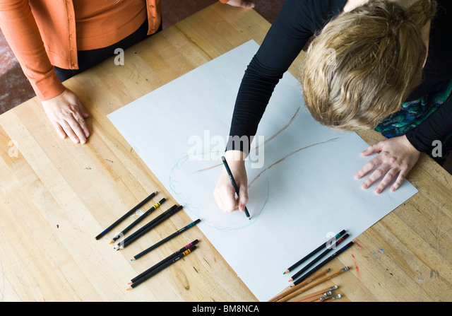 Artist drawing - Stock Image
