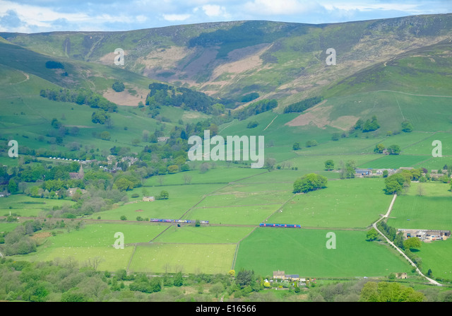 Trains on the Edale valley mainline track, Peak District National Park; Derbyshire; England - Stock Image