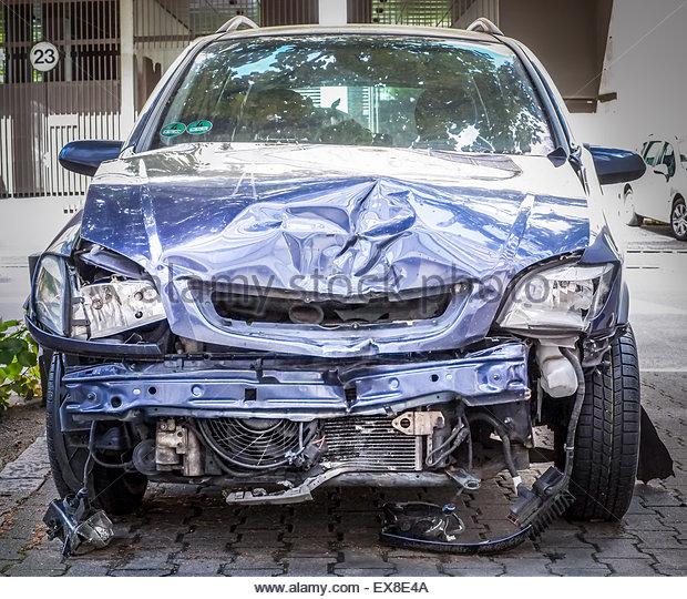 Car damage after crash - Stock Image
