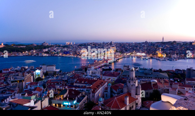 View of Istanbul at Twilight. Turkey - Stock Image