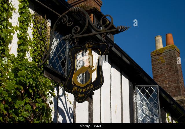 The Mermaid Inn Pub Sign Mermaid Street  Rye East Sussex Uk Pubs Signs - Stock Image