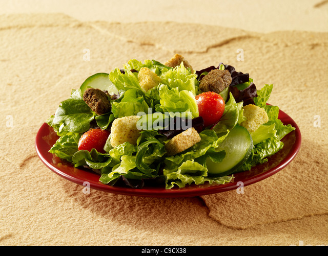 A dinner salad with pearl tomato, cucumber and croutons - Stock Image