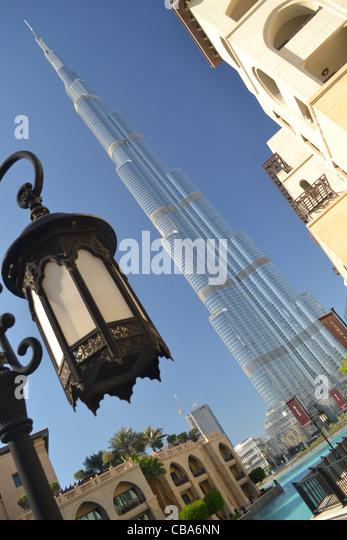 Burj Khalifa, tallest building in world, and old-style lantern, Dubai, UAE - Stock Image