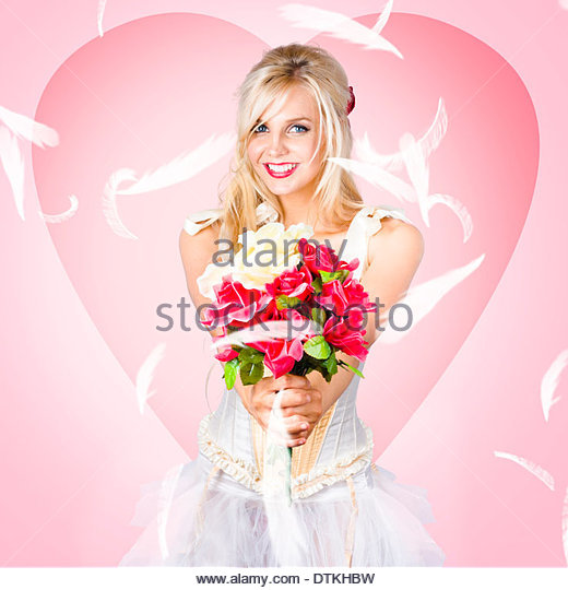 Beloved flower girl. Be my valentine - Stock Image