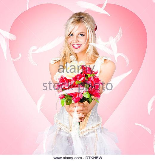 Beloved flower girl. Be my valentine - Stock Image