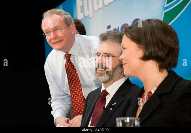 Martin McGuinness Gerry Adams and Mary Lou McDonald of the Sinn Fein Political party at their Ard Fheis in Dublin - Stock Image