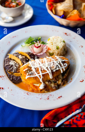 Traditional Mayan dish of stuffed pepper with rice and beans - Stock Image