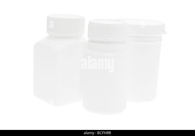 Plastic Pill Bottles - Stock Image