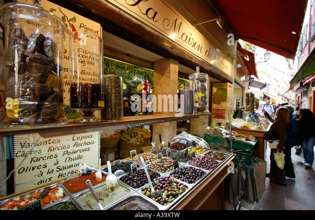 France Nice old city center market stall olives - Stock Image