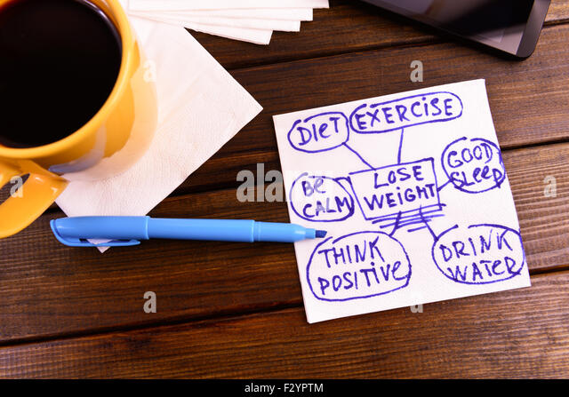 napkin sketch 'lose weight' good health diet exercise - Stock-Bilder