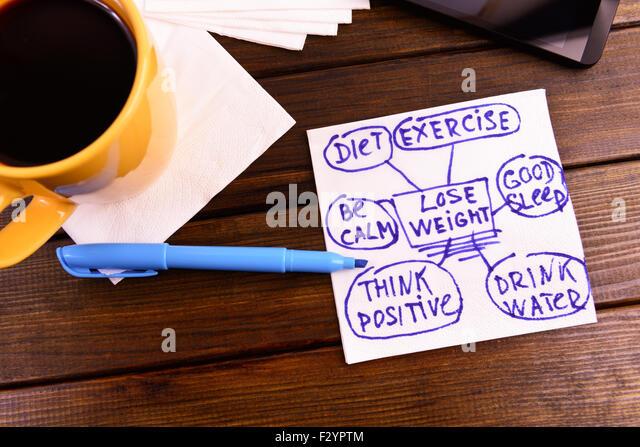 napkin sketch 'lose weight' good health diet exercise - Stock-Bilder