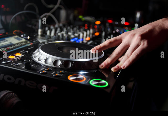 Close up of DJ spinning - Stock Image