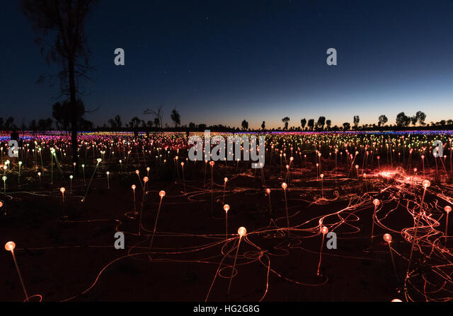 Field of Light by artist Bruce Monro at Ayers Rock / Uluru, Australia has thousands of coloured lights - Stock Image