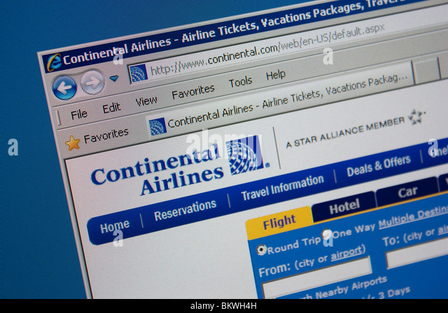 Continental Airlines travel website - Stock-Bilder