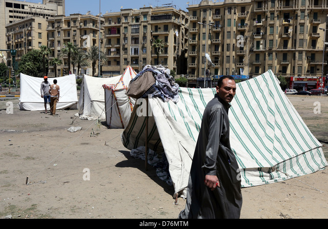 Peace tents on Tahrir Square, Cairo, Egypt - Stock Image