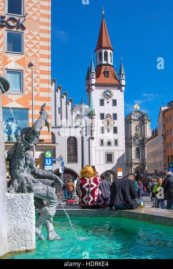 Old town  Hall at Marienplatz, Munich - Stock Image