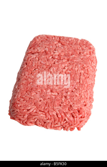Raw ground beef cutout on white background - Stock Image