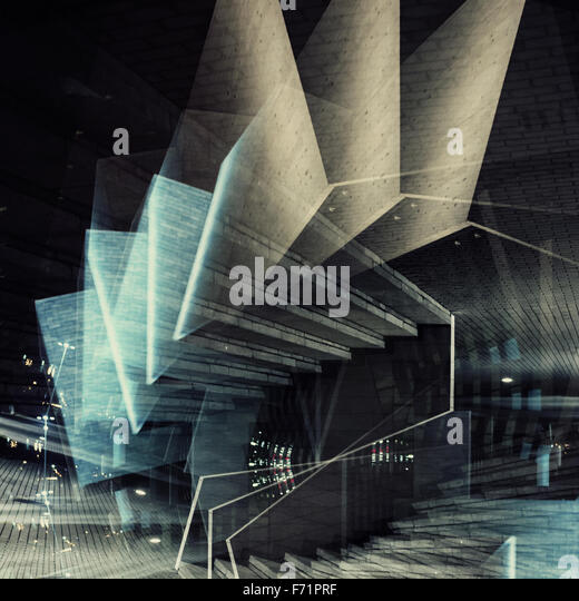 Abstract multiple exposure background. Architectural forms. - Stock Image