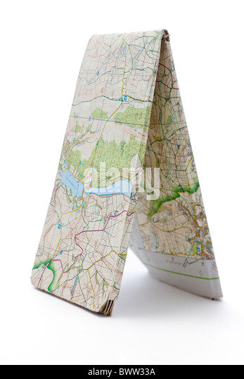 Old frayed worn out map. - Stock Image
