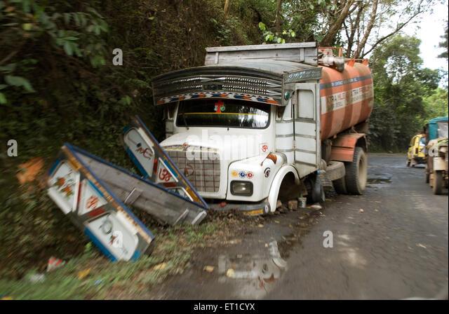 Truck accident on way to shillong ; Meghalaya ; India - Stock Image