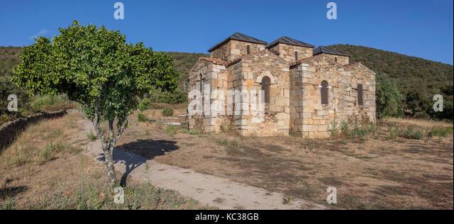 Visigothic Basilica of Santa Lucia del Trampal, Alcuescar, Spain. Outdoors view - Stock Image