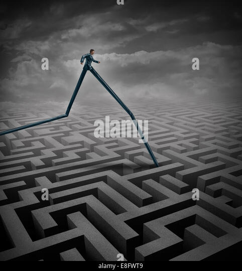 Fast track business concept as a businessperson walking over a maze or labyrinth with the advantage of long legs - Stock-Bilder