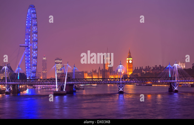 London Eye at dusk in London - Stock Image