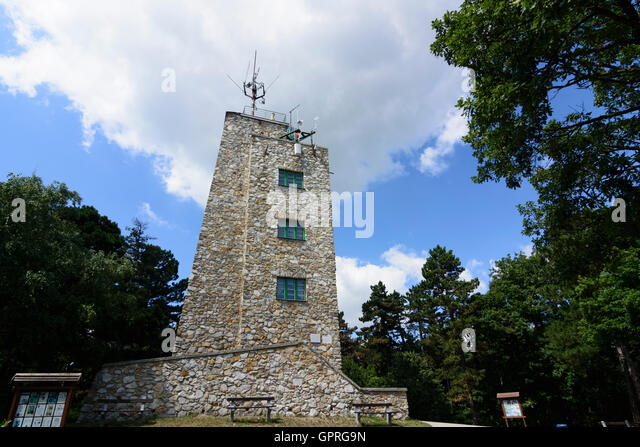 outlook tower at Karoly-magaslat (Karlshöhe) in Sopron (Ödenburg), Hungary - Stock Image