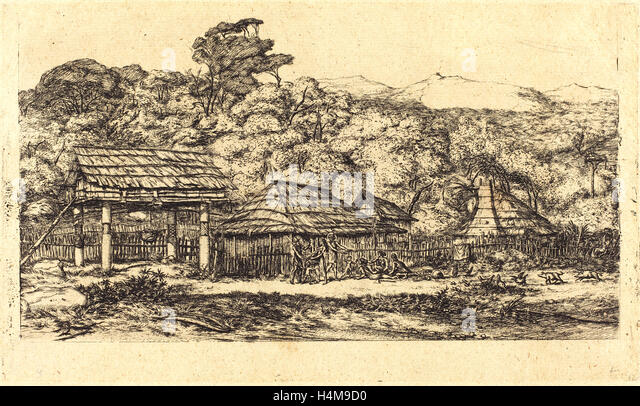 Charles Meryon, French (1821-1868), Greniers indigènes et habitations à Akaroa, presqu'Ile de Banks, - Stock-Bilder