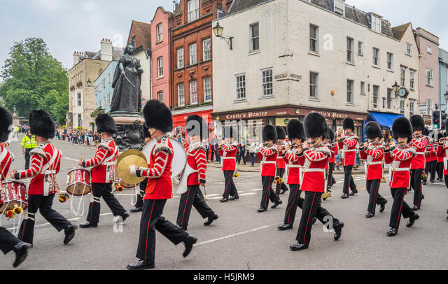 Great Britain, England, Berkshire, Windsor,  parade of the regimental band during the changing of the guards parade - Stock Image