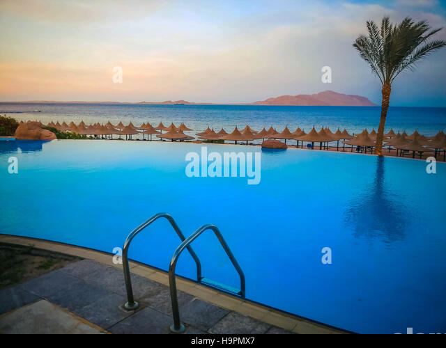 Photo of pool on holiday in Egypt - Stock Image