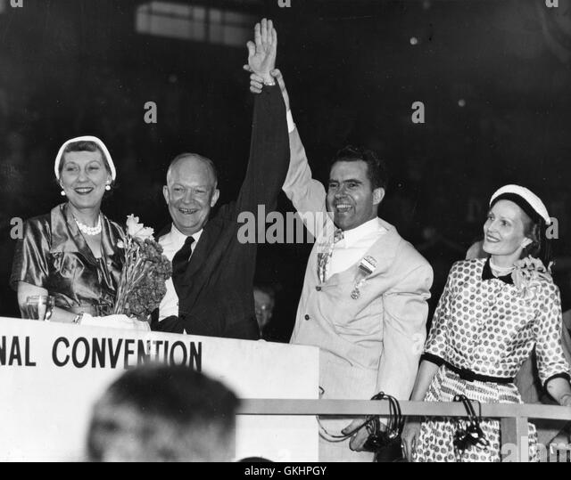 Republican nominee Gen. Dwight Eisenhower's arm is raised before delegates at concluding convention session - Stock Image
