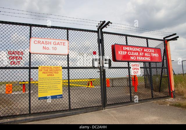 Emergency crash gates at Manchester Airport - Stock Image