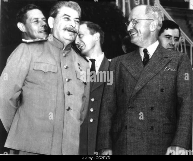 Potsdam conference. Truman, Stalin and Churchill November 1945 Second World War National Archives - Washington - Stock Image