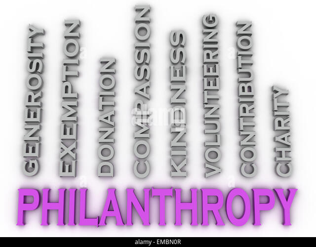 3d image Philanthropy  issues concept word cloud background - Stock Image
