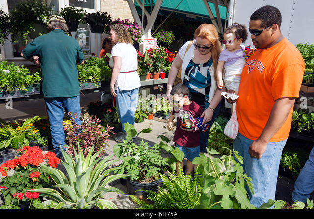 Virginia Roanoke Market Square Farmers' Market plants for sale nursery potted shopping family Black man woman - Stock Image