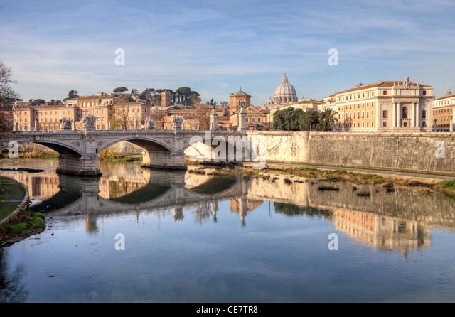 View of St. Peter's Basilica and Ponte Vittorio Emanuele on the Tiber - Stock Image