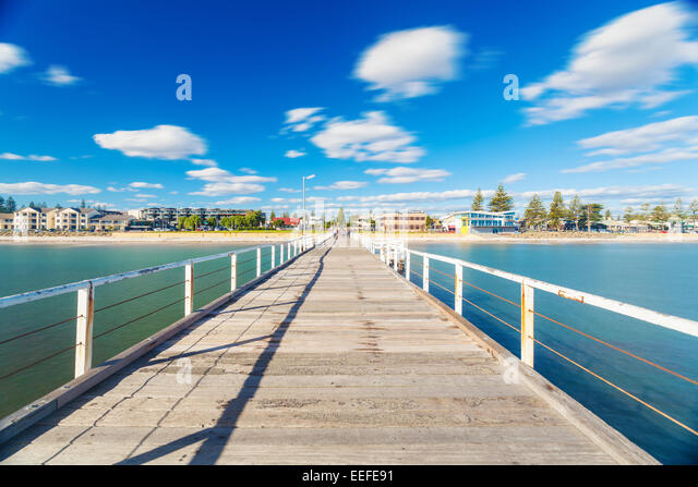 Long exposure shot of jetty in a beach - Stock-Bilder