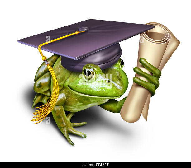 Environmental education symbol as a green frog student wearing a graduation mortar cap holding a university or school - Stock Image