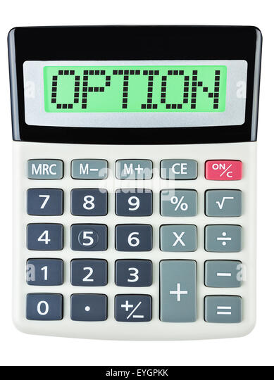 Calculator with OPTION on display isolated on white background - Stock Image