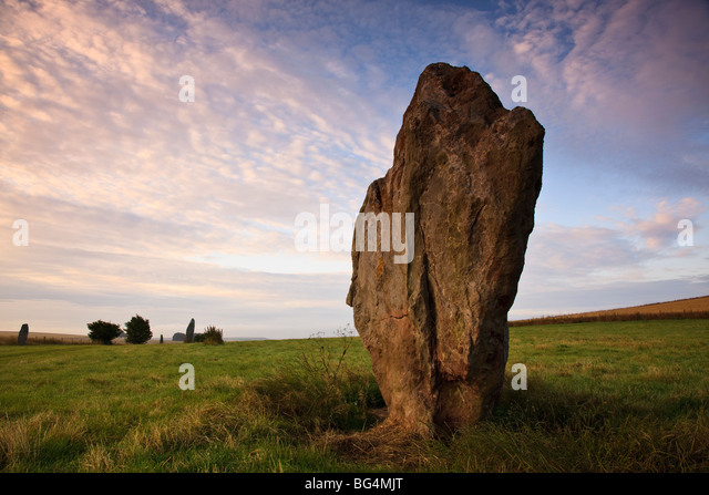 Early morning at Avebury, Wiltshire, UK - Stock Image