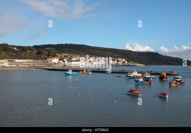 Lyme Regis and Harbour Dorset England - Stock Image