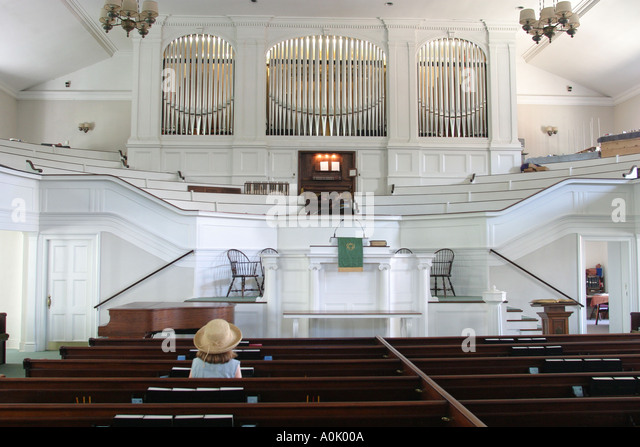 Ohio Oberlin First Church Anti Slavery Society organ seating altar - Stock Image