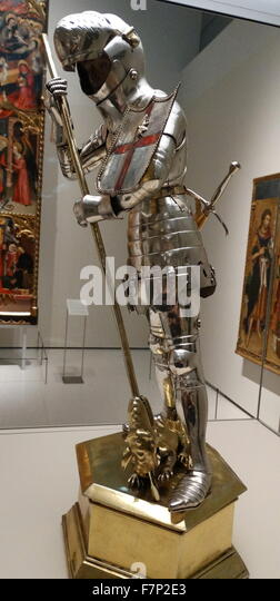 Silver plated statuette of St. George slaying the dragon, from the chapel of St. George Palace of the Generalitat - Stock Image