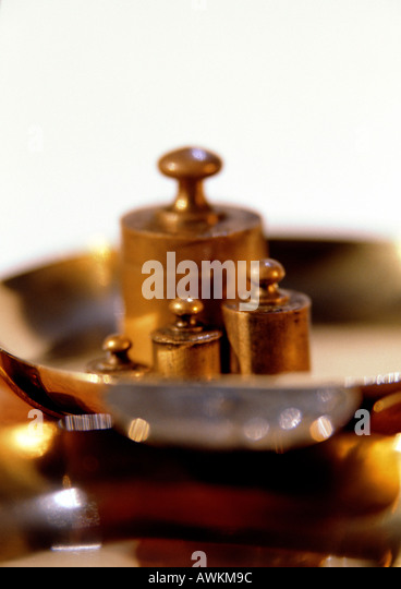 Weights on scale, close-up - Stock Image