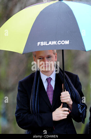 Feb. 11, 2011 - London, United Kingdom - WikiLeaks founder Julian Assange arrives at Belmarsh Magistrates' Court, - Stock Image