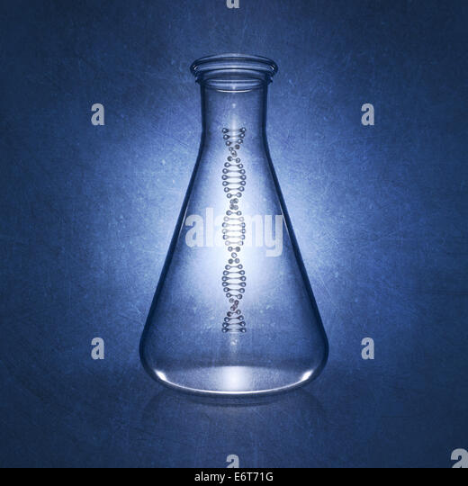 Dna double helix molecule in laboratory flask on blue background , Genetics , detailed illustration - Stock Image